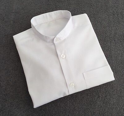 Boys grandad collarless white long sleeve shirt age 5 to 6 years