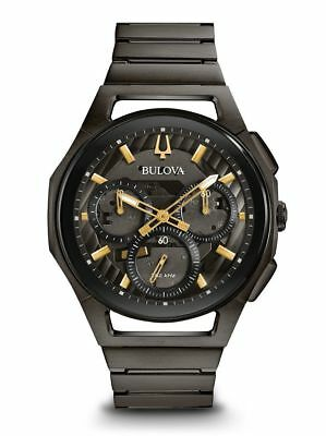 New Bulova Men's Curv 98A206 Chronograph 44mm Stainless Steel Watch