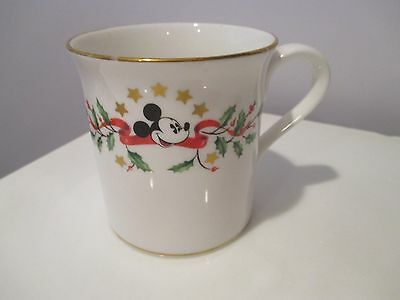 Lenox Holiday Dimension Disney Mickey Mouse Mug White Holly Stars