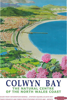 Colwyn Bay VINTAGE Railway Travel POSTER North Wales Train Tourism Ad Wall Art