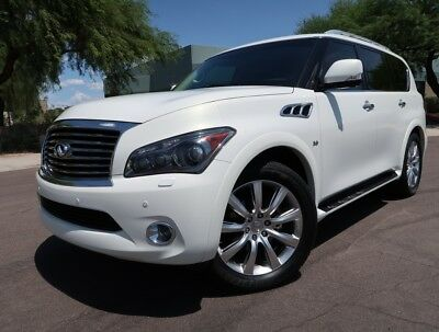 2014 Infiniti QX80 QX80 Deluxe Touring Deluxe Touring Pack Navi Rear TVs 22inch Whls Loaded White Black 2015 2013 qx56