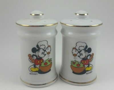 Vintage Mickey Mouse Salt and Pepper Shakers Disney Productions Gold Trim