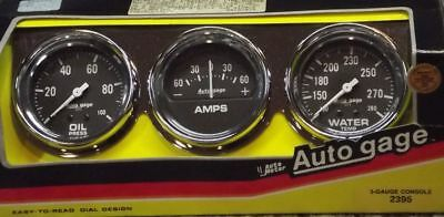 2-5/8 Inch Mechanical Triple Gauge Kit W/ Amps Autogage by AutoMeter 2395