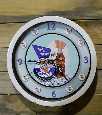 Donald Duck Cola Disney Wall Clock Vintage 10 inch Non Ticking Sweep Hand Glass
