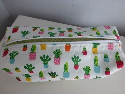 Cactus Green*Pink*Gold Fabric Make Up Bag*Travel Bag*Pencil Case