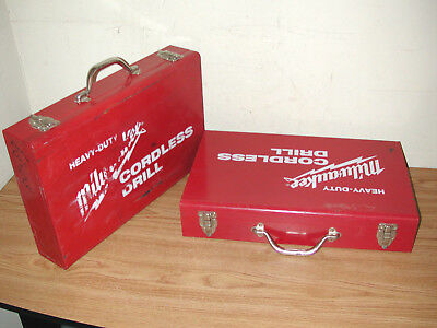 Two Heavy-Duty Milwaukee Cordless Drill Empty Metal Carrying Cases