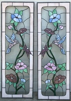 """TWO STAINED GLASS HUMMINGBIRD PANELS 12"""" X 35 1/2"""" Leaded Glass Art Nouveau NICE"""