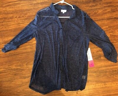 Siren Lily Blue Maternity Button Up Blouse  XL X Large