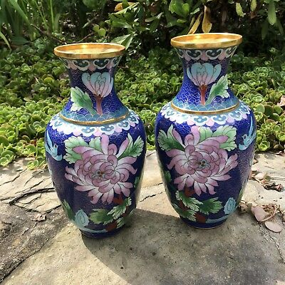 """A PAIR OF VINTAGE 8"""" CLOISONNE And Brass MIRRORED COBALT CHINESE VASES"""