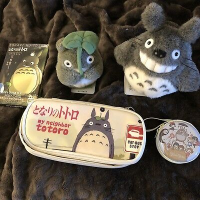TOTORO LOT 1 Small Plush, 1 Medium Plush, 1 Pencil Case, Postcards Ghibli Japan