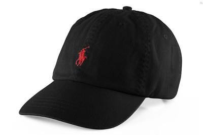 Polo Ralph Lauren Baseball Cap Black with Red Small Pony Free Postage MEGA SALE