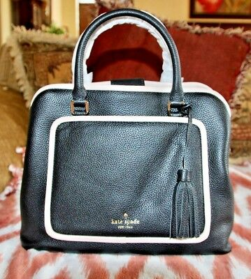 1bc6672a8 NWT $380 kate Spade Ward Place Evangelie Satchel in Black and Rose Cloud