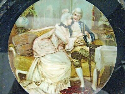 Antique Flue Chimney Cover Victorian Lady Man Romantic Couple Drinking Champagn