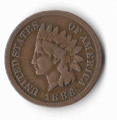 Rare Very Old Antique US 1886 Indian Head Penny USA Collection Nice Coin Cent