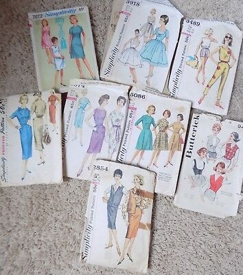 9 Vintage women's dress patterms Size 12, 13, 14