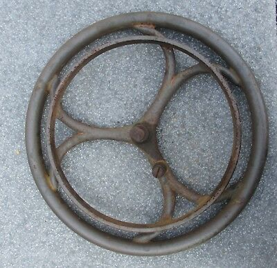 "WEED SEWING MACHINE ANTIQUE TREADLE BASE CAST IRON PULLEY WHEEL 15 1/2"" diameter"