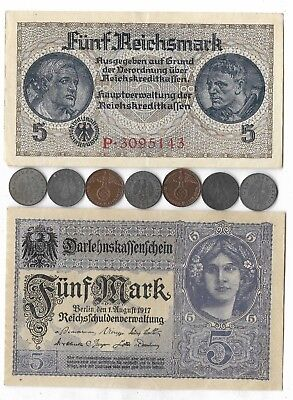 German Rare Old WWI WWII Germany War Note Coin WW2 Vintage Europe Collection Lot