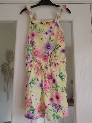 George / Asda Girls Yellow Purple Pink Green Floral Playsuit Age 5-6 Years