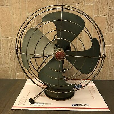 Vintage GE General Electric Vortalex 3 Speed FM16V23 Oscillating Fan Art Deco