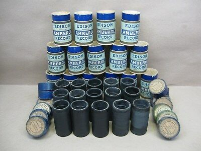 Edison Cylinder Phonograph 15 Black 4m Amberol Special Records Sleeves & Lid L12