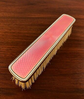 Joseph Mondinelli French 950 Sterling Silver & Enamel Guilloche Clothes Brush