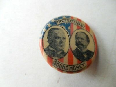 Presidential McKinley Hobart Pin Back Campaign Button Sound Money Protection