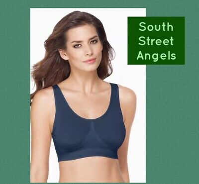 36c6cbfd47c0f WACOAL 835275 INSIGNIA BLUE B-SMOOTH WIRE FREE BRALETTE w/REMOVABLE PADS 36  B C
