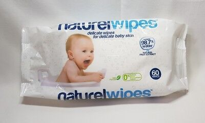 1 x Naturel Wipes Delicate Skin Contains 98.7% Water Suitable for Newborn Babies