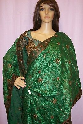 Saree 576 Green Georgette Party Wear Sari Shieno Sarees