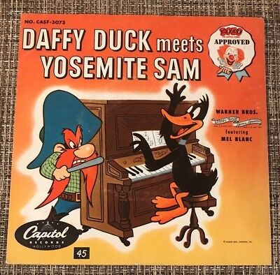 "Vintage, Mel Blanc ""Daffy Duck Meets Yosemite Sam""  45 record by Capitol Records"
