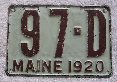 1920 Maine Dealer License Plate # 97-D