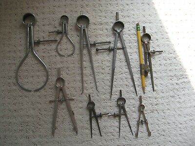 Vintage Lot of 9 Calipers Dividers B & S 800, 801, 802, Union, Machinist Tools