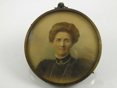Antique late 19th century portrait miniature painting of an elegant lady