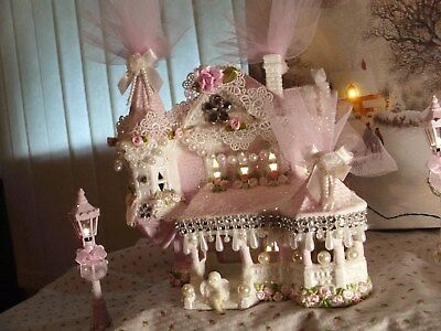 5 Pc.chic Pink Victorian Christmas Village Light Up House,roses,angel,lamp Posts