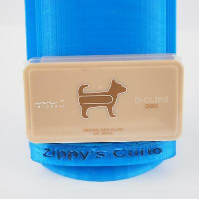 Box of 30 D-Clips Dog-Shaped Paperclips by Midori of Japan - New
