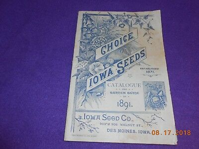 1891 Choice Iowa Seeds Booklet Neat Cover