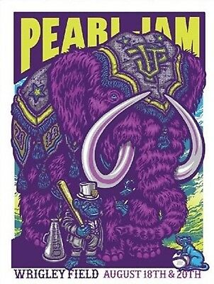 Pearl Jam Chicago 8-18 & 8-20 Wrigley Field Concert Poster By Ames Bros