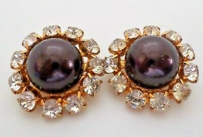Vintage Clip Earrings by Bill Smith for Richleau Black Center and Rhinestones