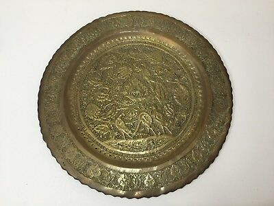 """Vintage Islamic Middle East Hand Chased Brass Tray Platter, 15 1/4"""" Diameter"""
