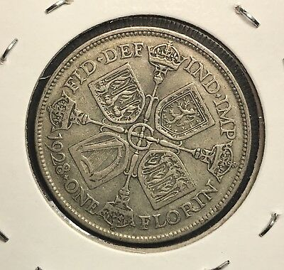 1928 Great Britain Silver One Florin. Collector Coin For Collection or Set.1
