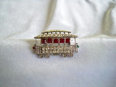 Vintage Rhinestone Small Trolley Car Scatter Pin