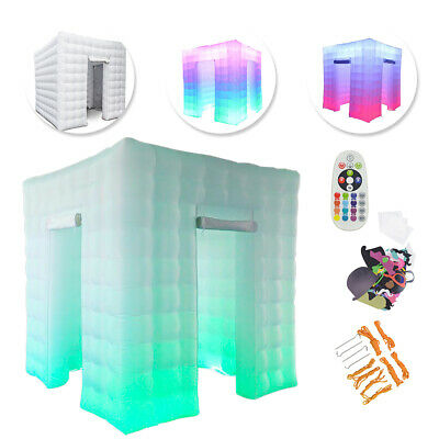 2.5M 2 Door 110V Inflatable LED Light Photo Booth Tent Party Birthday Wedding