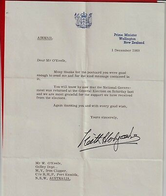 Keith Holyoake. New Zealand Prime Minister. Letter Signed By Him In 1969.