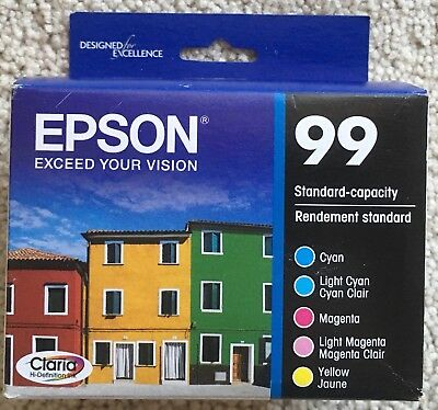 Sealed New 5 Pack Genuine Epson 99 Color Ink C M Y Lc Lm Retail Bx T099920 05/20