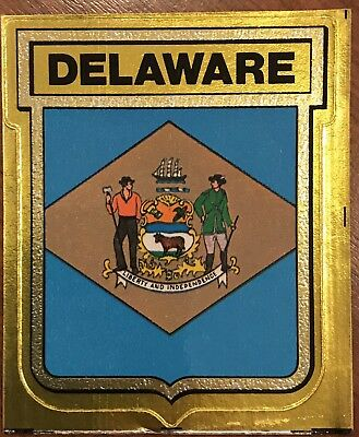 Vintage Delaware State Flag Travel Sticker New Vinyl Decal Gulf Gas Station