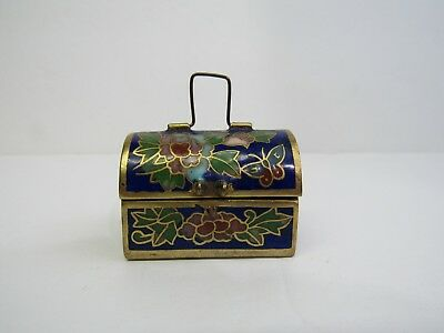 Vintage Cloisonne w/Flowers and Butterflies Treasure Chest Box with Thimble
