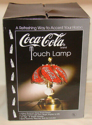 Coca Cola Coke Touch Lamp Light Table Stained Glass Looking Swirl Gold NIB