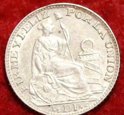 Uncirculated 1896 Peru 1/2 Dinero Silver Foreign Coin