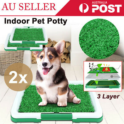 2X Grass Indoor Dog Puppy Pet Potty Training Toilet Portable Loo Clean Pad Tray