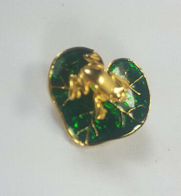 Vintage Gold Metal & Enamel Cloisonne Lily Pad With Frog On A Spring Pin